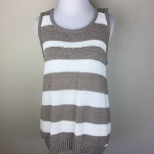Cable & Gauge tan and white striped sleeveless top